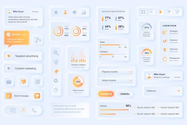 소셜 미디어 마케팅 모바일 앱을위한 사용자 인터페이스 요소 프리미엄 벡터