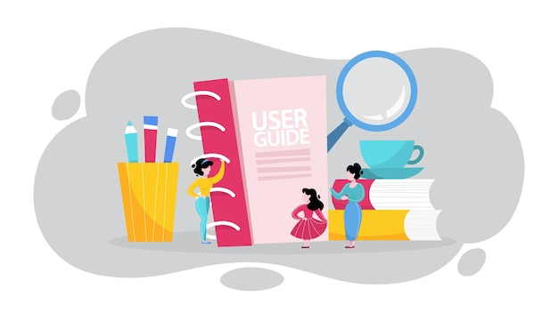 User manual concept. guide book or instruction Premium Vector