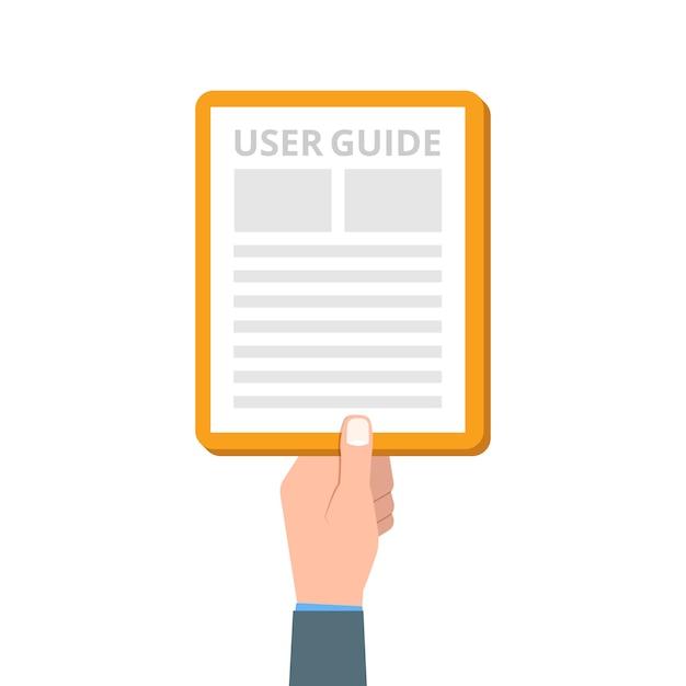 User manual, guide, instruction, guidebook, handbook.  illustration. Premium Vector
