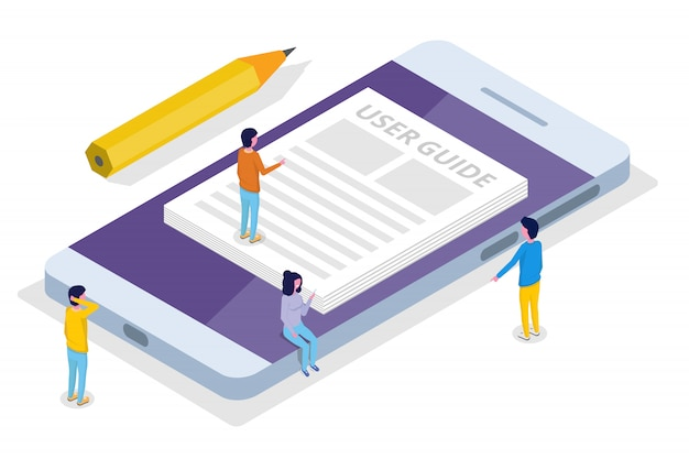 User manual, guide, instruction, guidebook, handbook isometric concept.  illustration. Premium Vector