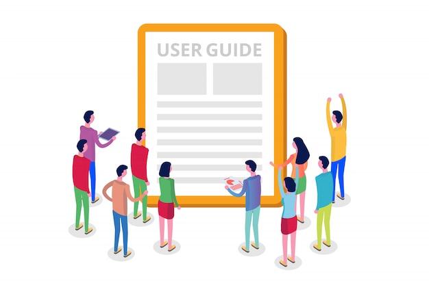 User manual, guide, instruction, guidebook, handbook isometric concept.  illustration. Premium Vector