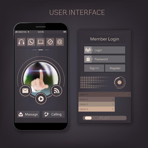 User mobile web ui kit form, menu interface  Vector