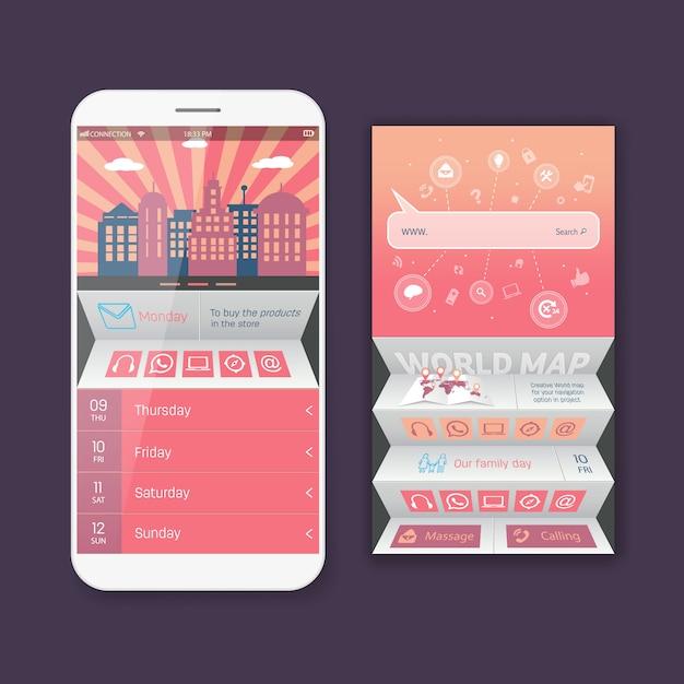 User mobile web ui kit form Premium Vector