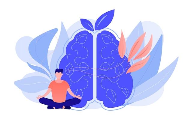 연꽃 자세로 마음 챙김 명상을 연습하는 사용자. 마음 챙김 명상, 정신 평온 및 자의식, 집중 및 스트레스 개념 해제. 벡터 격리 된 그림입니다. 무료 벡터