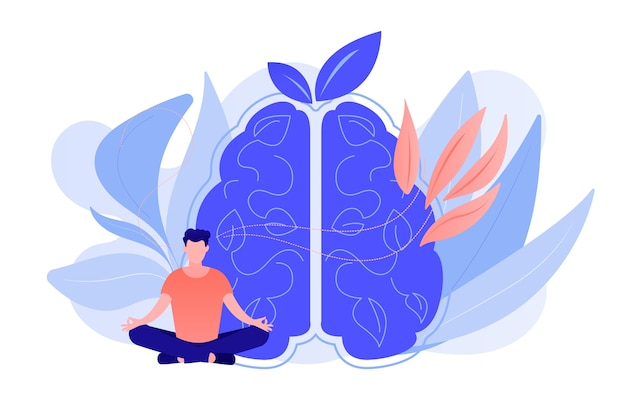 User practicing mindfulness meditation in lotus pose. mindful meditating, mental calmness and self-consciousness, focusing and releasing stress concept. vector isolated illustration. Free Vector