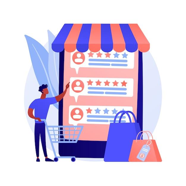 사용자 평가 및 피드백. 고객 리뷰 만화 웹 아이콘. 전자 상거래, 온라인 쇼핑, 인터넷 구매. 신뢰 지표, 최고 등급 제품. 무료 벡터
