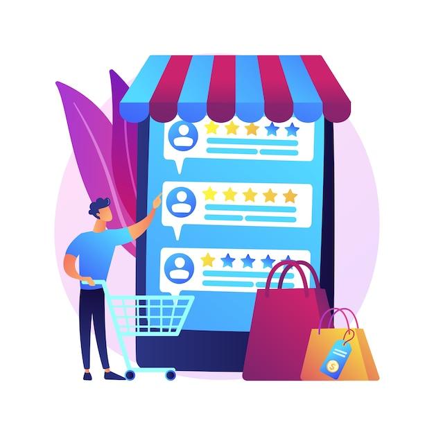 Valutazione e feedback degli utenti. icona di web del fumetto di recensioni dei clienti. commercio elettronico, acquisti online, acquisti su internet. metriche di fiducia, prodotto più votato Vettore gratuito
