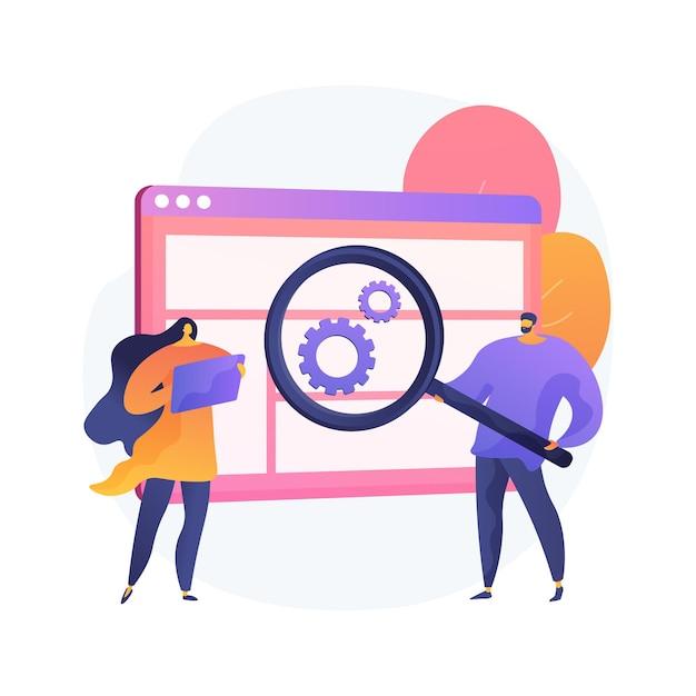 사용자 연구 추상 개념 그림입니다. 디자인 프로젝트, 온라인 설문 조사, 보고서 및 분석, 사용자 경험, 데이터 및 피드백, 디자인 에이전시, 포커스 그룹, 테스트 무료 벡터