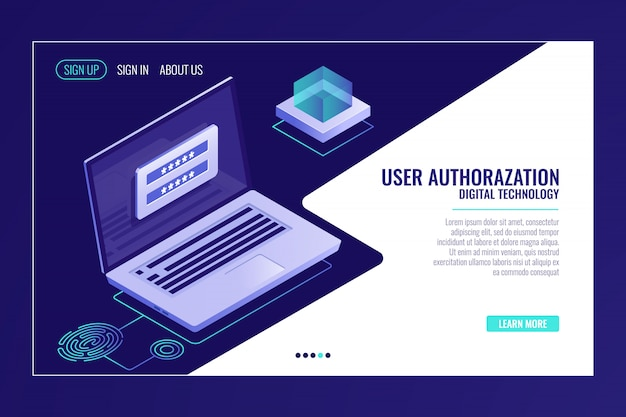 User sign up or sign in page, feedback, laptop with authorization form, web page template Free Vector