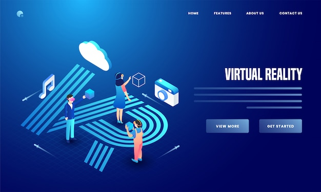 User using social media & analytics tools of camera, cloud and music notes for virtual reality website landing page design. Premium Vector
