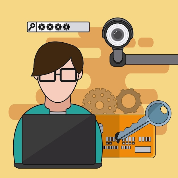 User with security system elements vector illustration graphic design Premium Vector