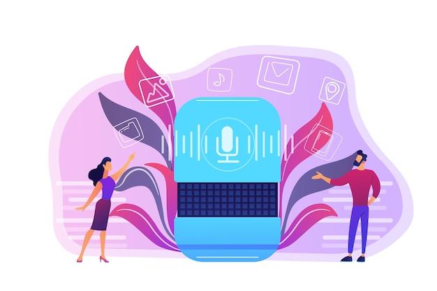 Users buying smart speaker applications online illustration Free Vector