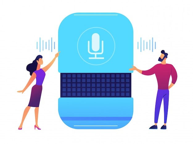 Users giving voice commands to smart speaker vector illustration. Premium Vector