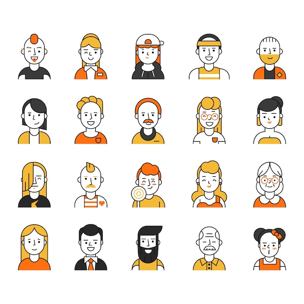 Users icon set in linear style, various funny characters male and female Premium Vector