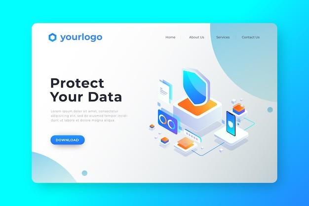 Users protect your data landing page Free Vector