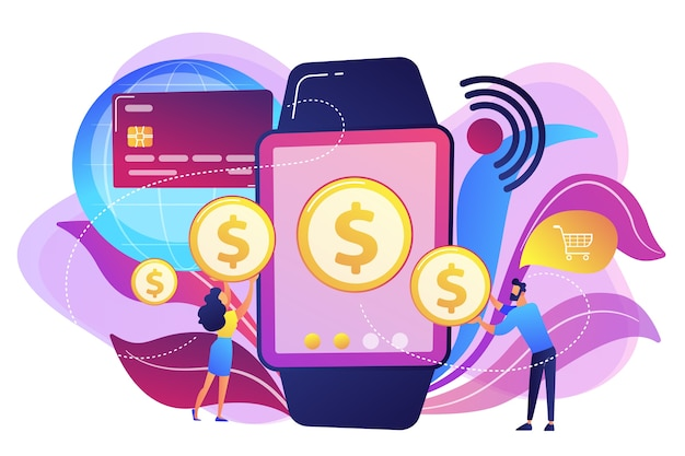 Users shopping and making contactless payment with smartwatch. smartwatch payment, nfc technology and nfc payment concept on white background. bright vibrant violet  isolated illustration Free Vector
