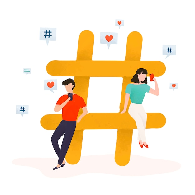 Users with a hashtag vector Free Vector