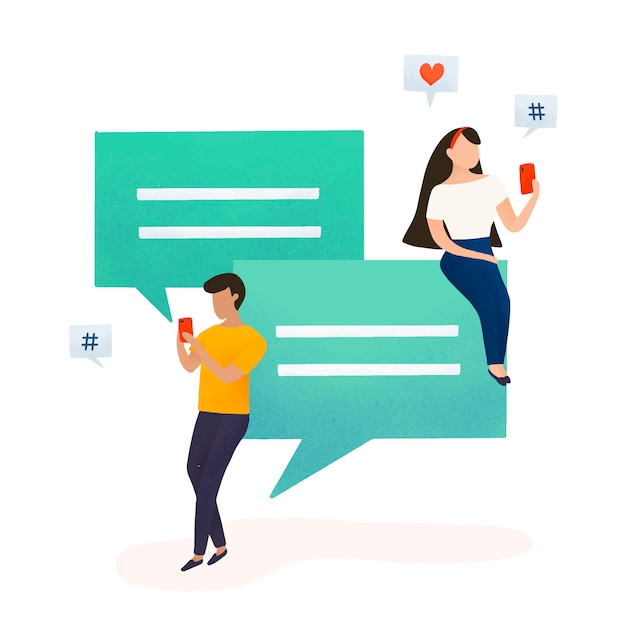 Users with speech bubbles vector Free Vector