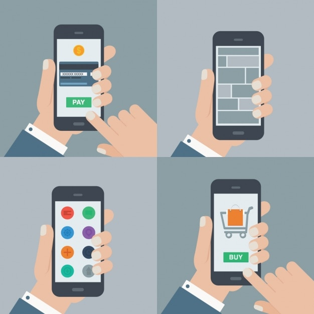 Using a mobile phone illustrations collection vector Online vector editor