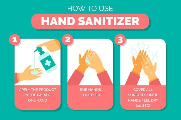 Utilizzando la spiegazione del disinfettante per le mani illustrata Vettore gratuito