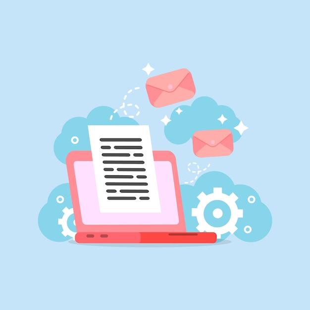 Using laptop computer Premium Vector