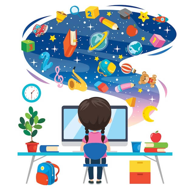 Using technology for education or business Premium Vector
