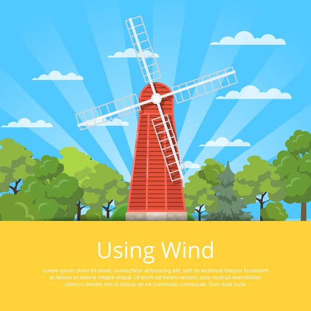 Using wind poster with wooden old windmill Premium Vector