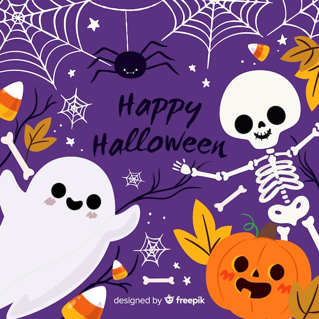 Ute halloween background with flat design Free Vector