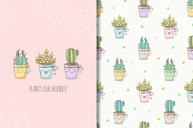 Сute hand drawn house plants card and seamless pattern Premium Vector