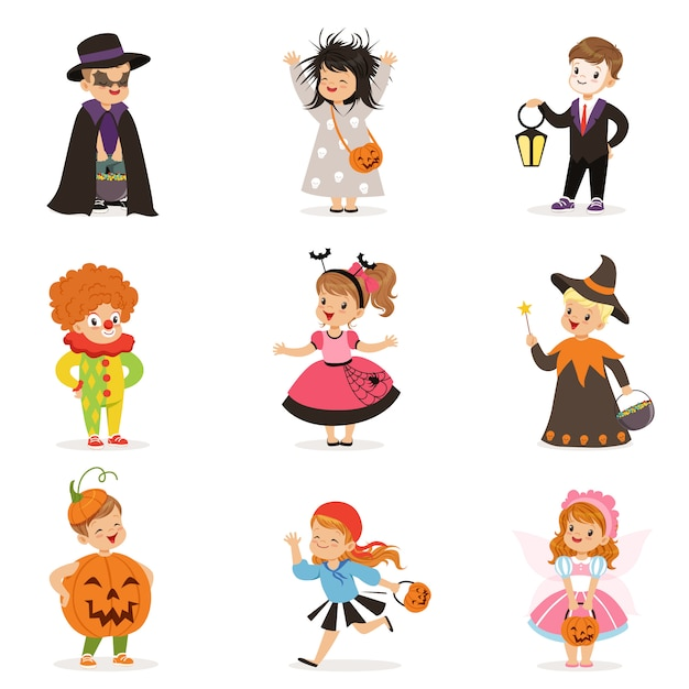 Ute happy little kids in different colorful halloween costumes set, halloween children trick or treating  illustrations on a white background Premium Vector