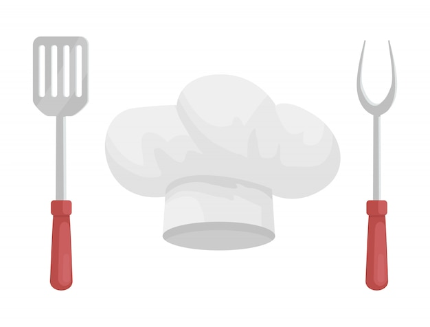 Utensil and hat of chef, cartoon style Premium Vector