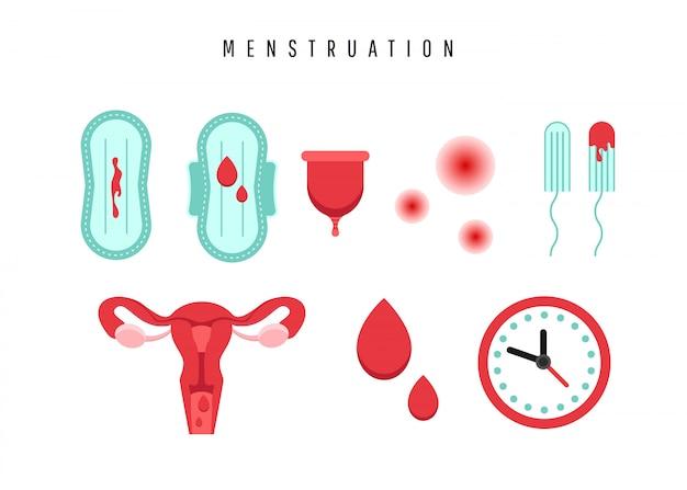 Матка с яичниковым органом, тампоном, прокладкой, менструальной чашей и каплей крови. Premium векторы