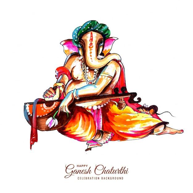 Fondo della carta del festival di chaturthi di utsavganesh Vettore gratuito