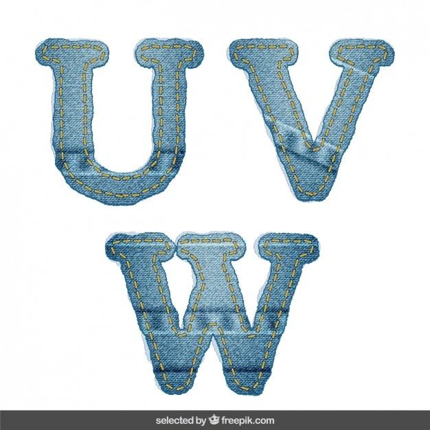 Джинсовая алфавит uvw Бесплатные векторы