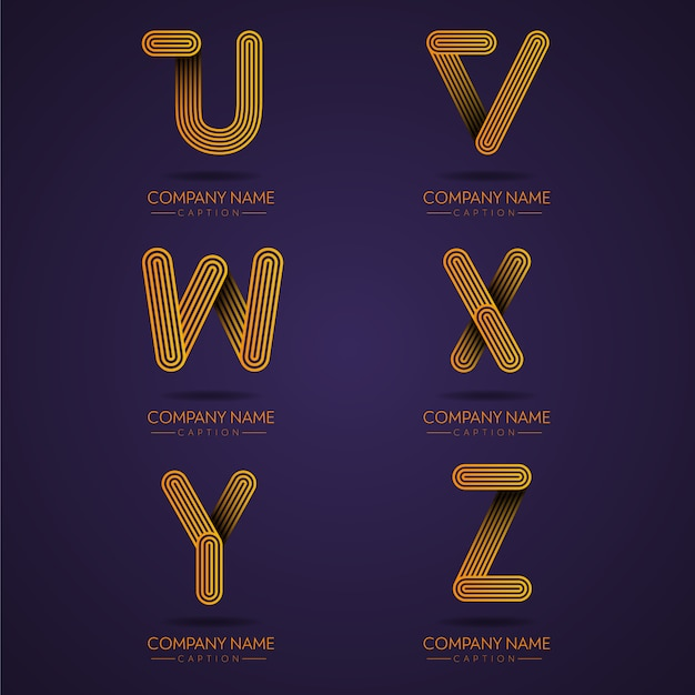 Профессиональное письмо с логотипом в виде отпечатков пальцев uvwxyz Premium векторы