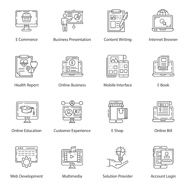 Ux and interface line icons Premium Vector