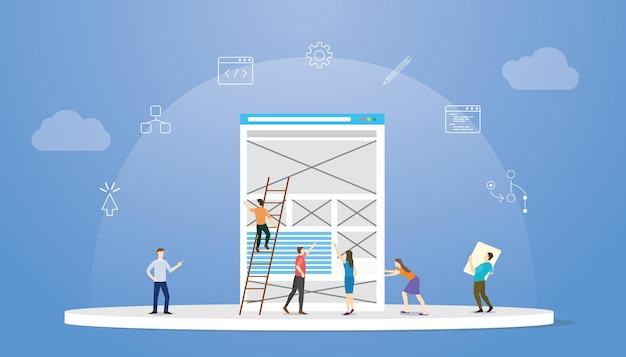 Ux user experience design concept with modern flat style vector illustration