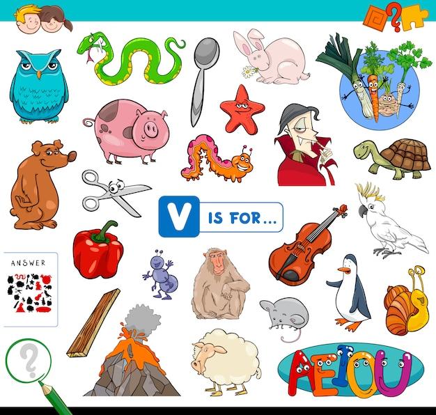 V is for educational game for children Premium Vector