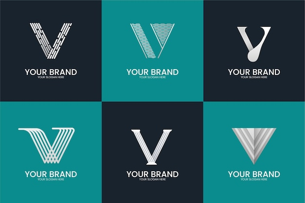 V文字ロゴコレクションスタイル 無料ベクター