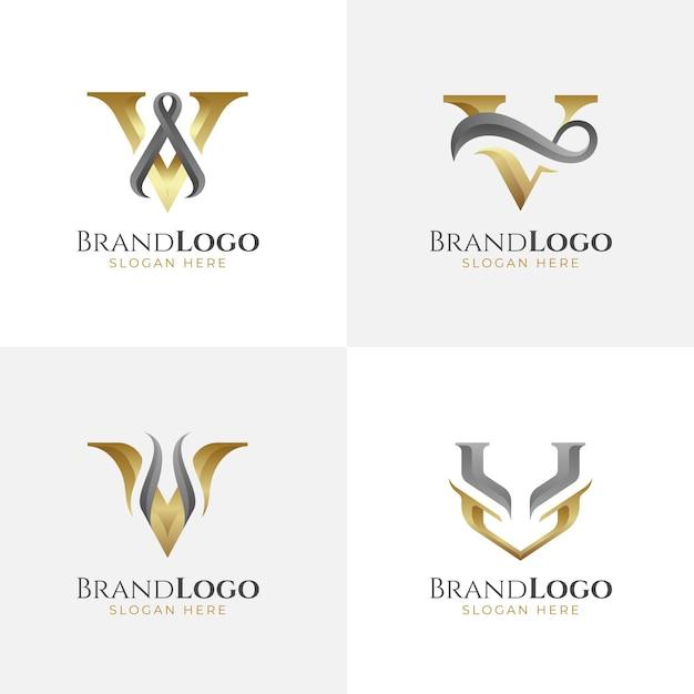 Collezione logo v Vettore gratuito
