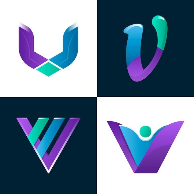 Collezione logo v. Vettore gratuito