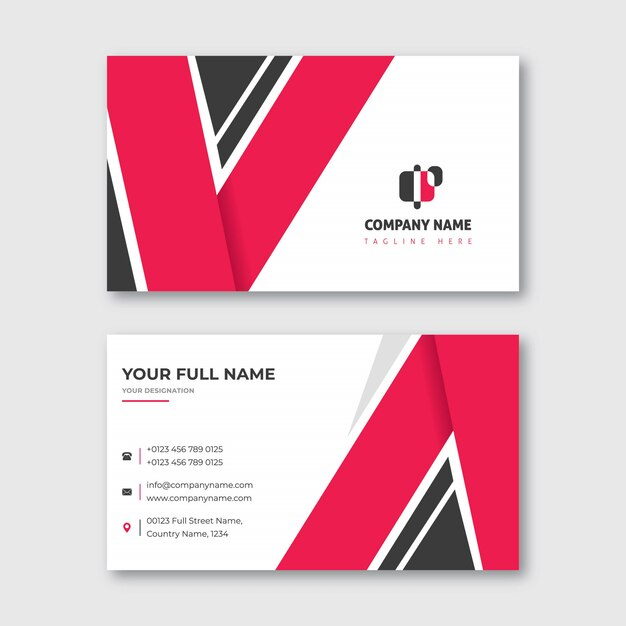 V shape business card red and black Premium Vector