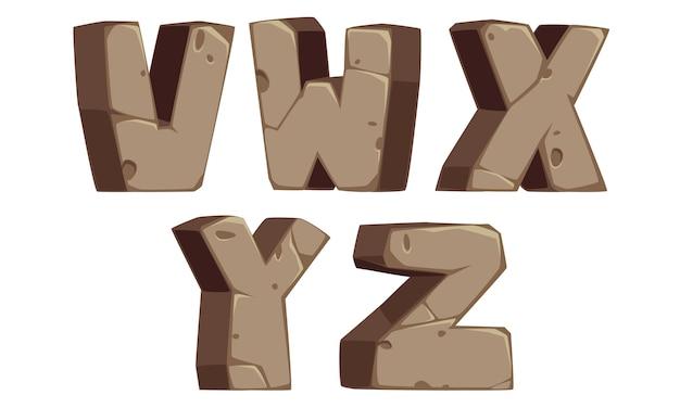 Каменные алфавиты v, w, x, y, z Premium векторы