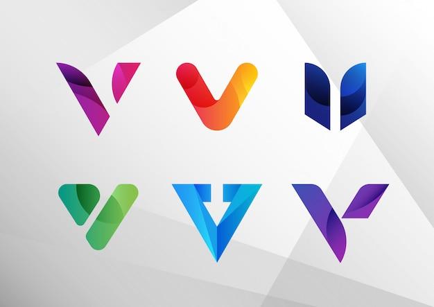 Современный абстрактный градиент v логотип Premium векторы