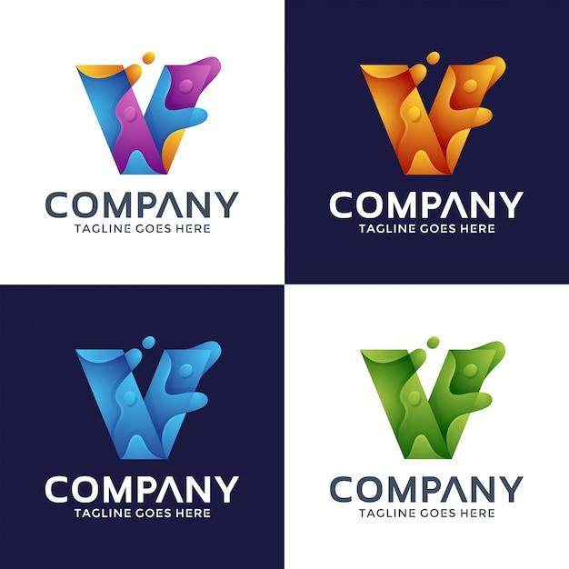 抽象的な手紙vロゴデザイン Premiumベクター