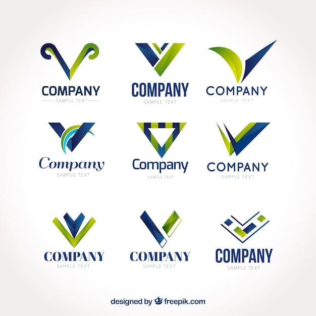 様々な抽象的な文字「v」のロゴ 無料ベクター