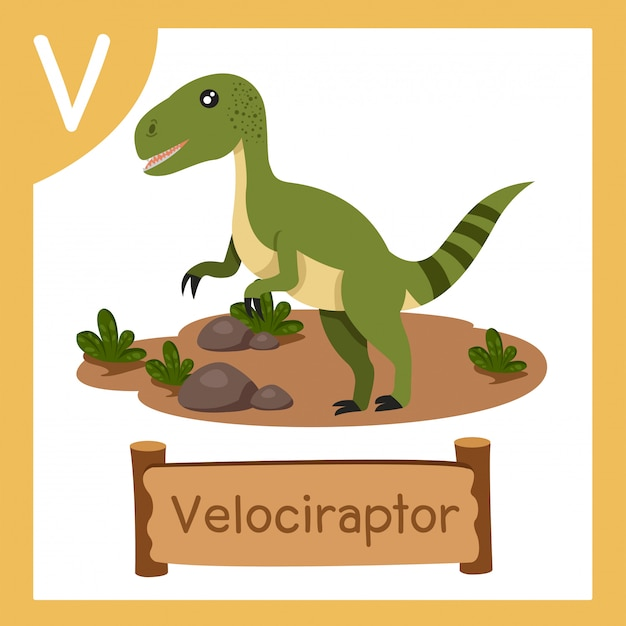 恐竜ヴェロキラプトルのvのイラストレーター Premiumベクター