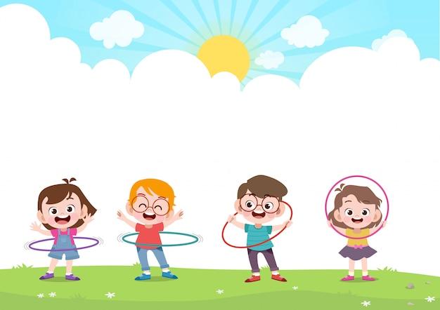 フラフープvを遊んで幸せな子供たち Premiumベクター
