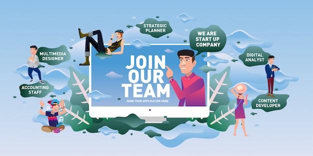 Vacancy recruitment advertisement Premium Vector