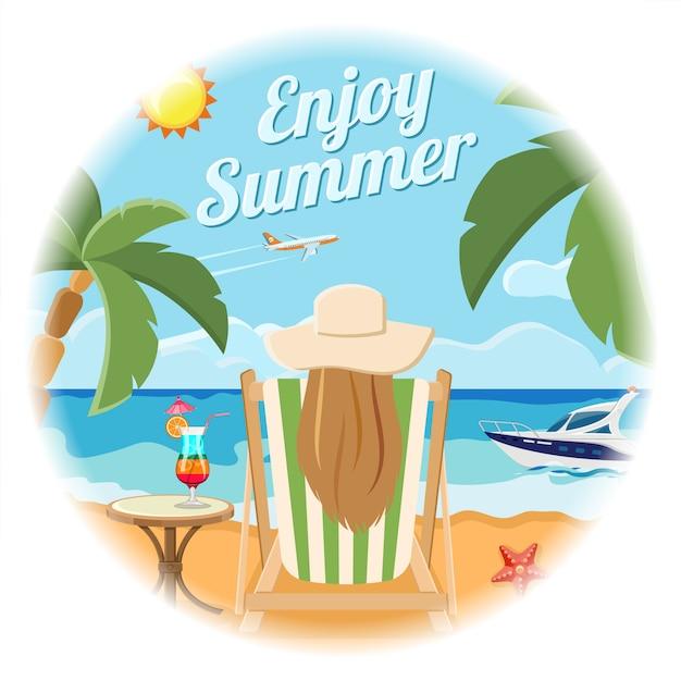休暇と夏のカードのコンセプト Premiumベクター